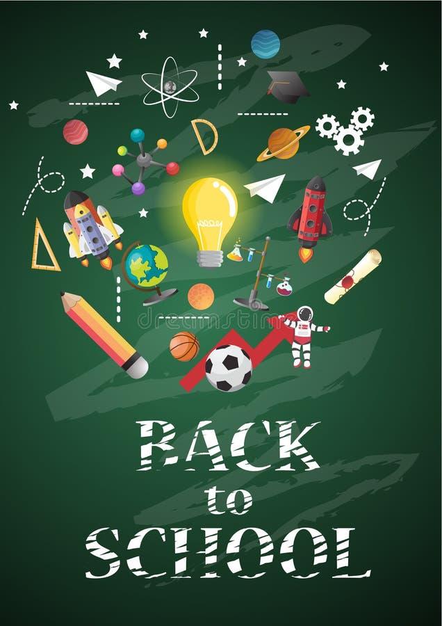 Dra tillbaka till skolan av affischen och banret och göra grön bakgrund för släkt utbildning vektor illustrationer