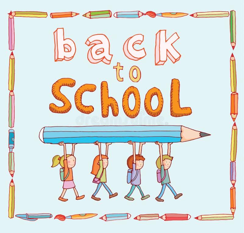 Dra tillbaka till skolan, baner och bokmärker, vektorillustration royaltyfri illustrationer
