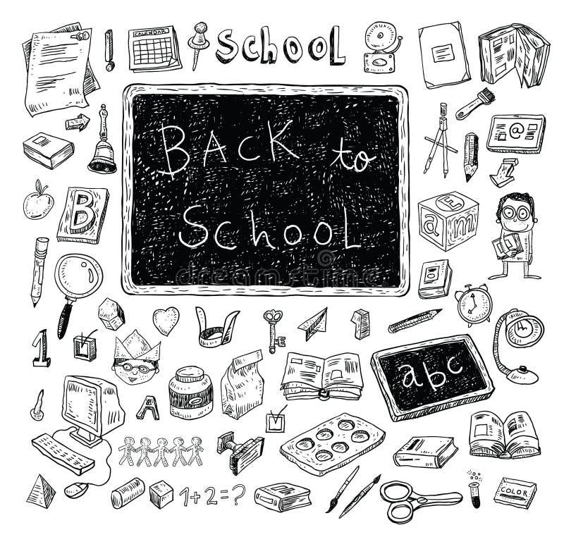 Dra tillbaka till skolan, baner och bokmärker, vektorillustration stock illustrationer