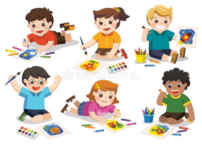 Dra tillbaka till skolan, lyckliga barn drar bilder royaltyfri illustrationer