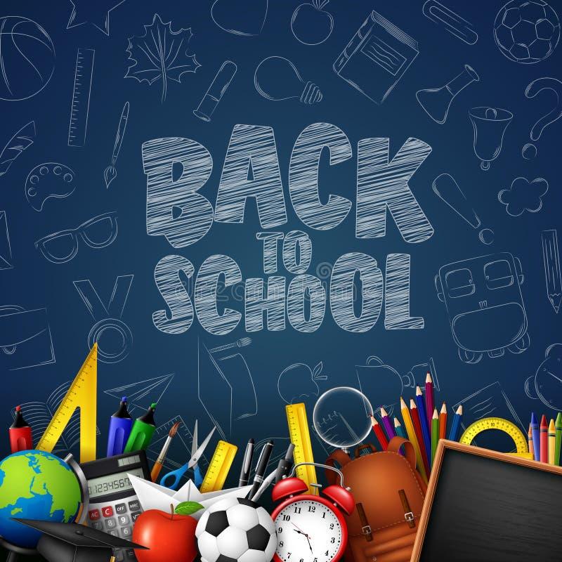 Dra tillbaka till skolan med skolatillförsel och klotter på blå svart tavlabakgrund stock illustrationer
