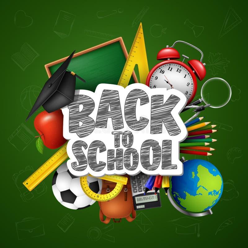 Dra tillbaka till skolan med skolatillförsel och klotter på grön svart tavlabakgrund royaltyfri illustrationer