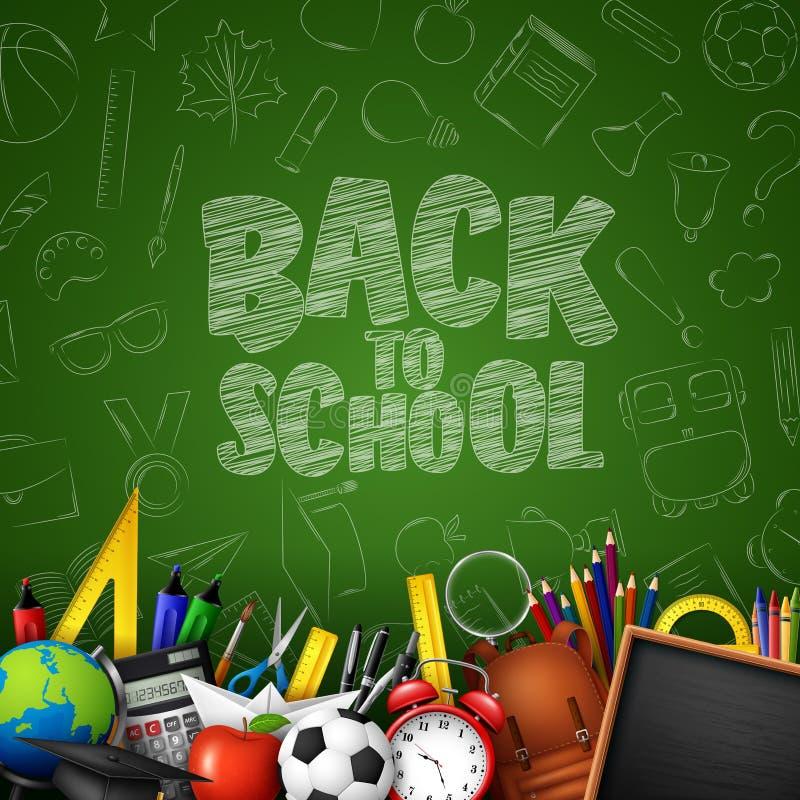 Dra tillbaka till skolan med skolatillförsel och klotter på grön svart tavlabakgrund vektor illustrationer