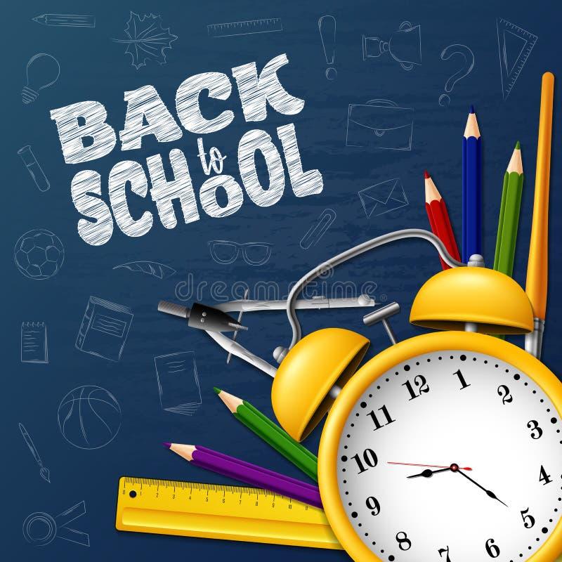 Dra tillbaka till skolan med skolatillförsel och klotter på svart tavlabakgrund royaltyfri illustrationer