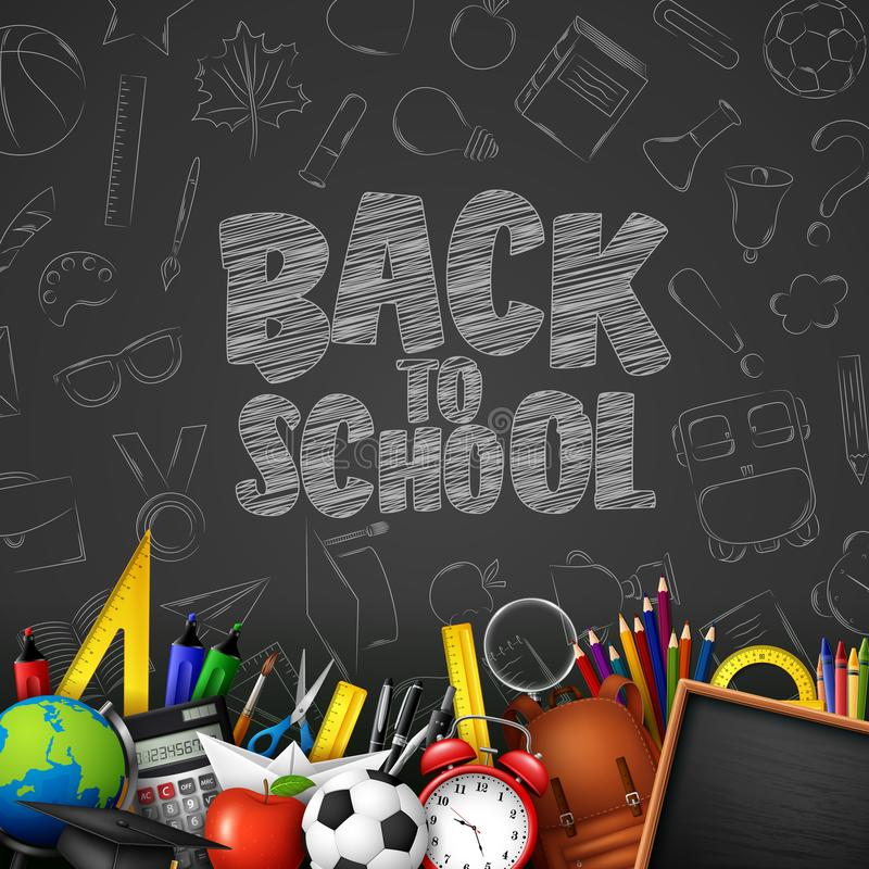 Dra tillbaka till skolan med skolatillförsel och klotter på svart svart tavlabakgrund royaltyfri illustrationer