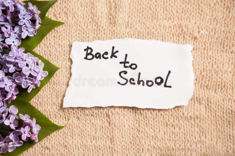 Dra tillbaka till skolan, på bakgrund för gammal stil med blommor royaltyfria foton