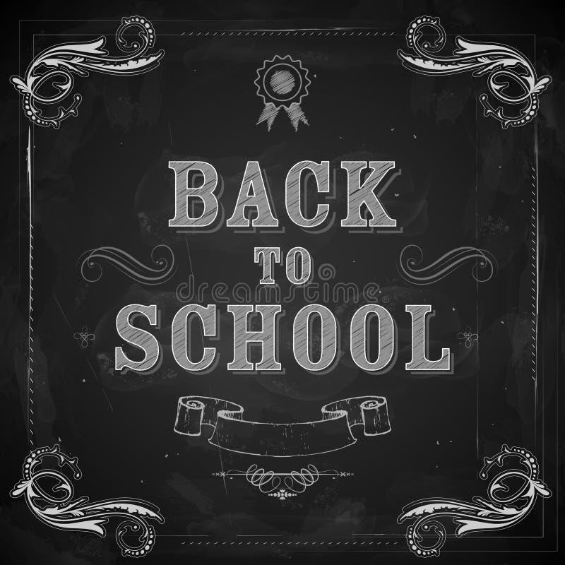 Dra tillbaka till skolan på den svart tavlan vektor illustrationer