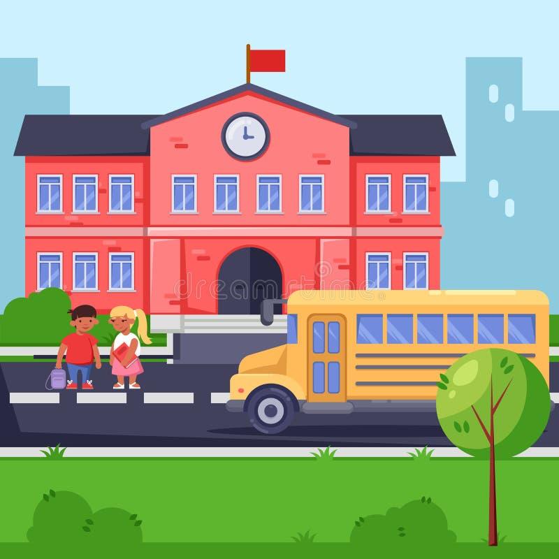 Dra tillbaka till skolan, plan illustration för vektor Skolabyggnad, gul buss och barn Elever med ryggsäckar och böcker vektor illustrationer