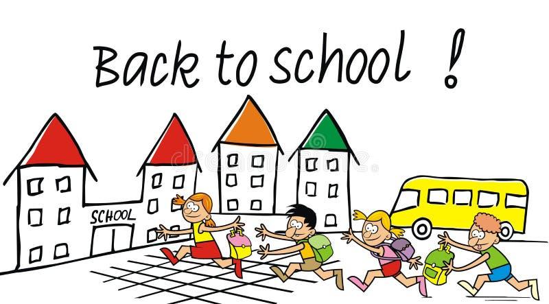 Dra tillbaka till skolan, skolbarn med påsar som kör till skolan royaltyfri illustrationer