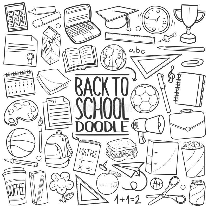 Dra tillbaka till skolan som traditionella klottersymboler skissar handen - gjord designvektor stock illustrationer