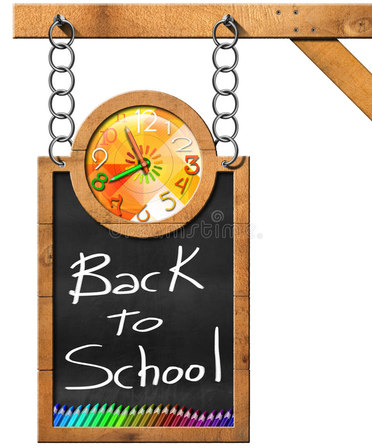 Dra tillbaka till skolan - svart tavla med kedjan royaltyfri illustrationer