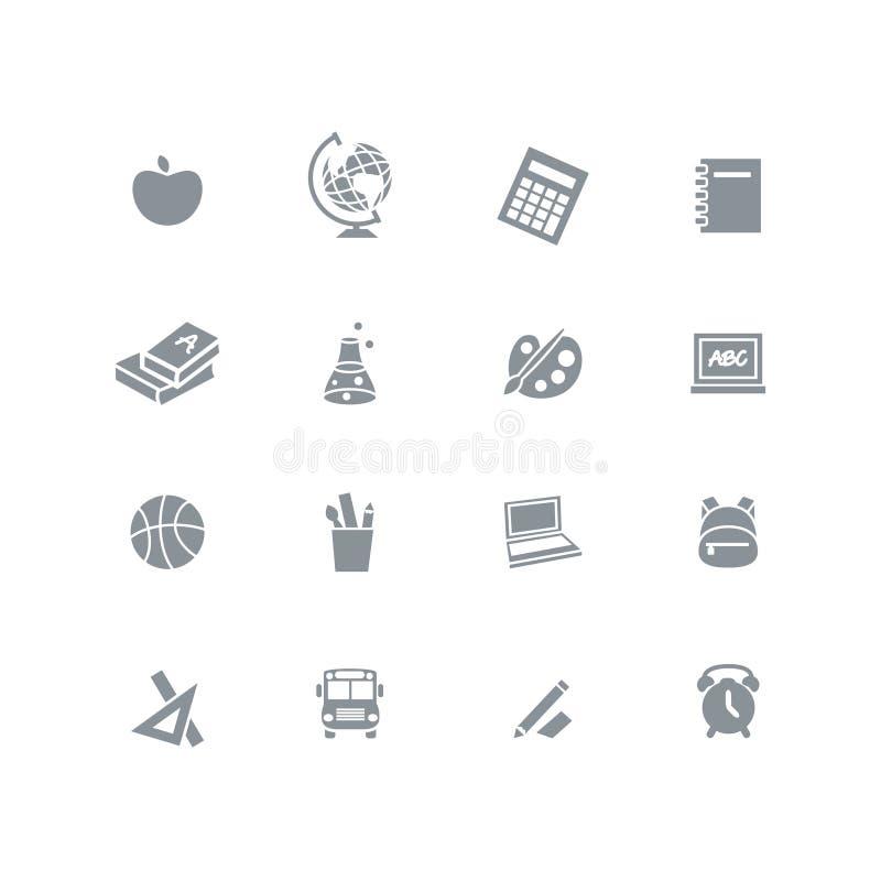 Dra tillbaka till skolan - symbolsuppsättning royaltyfri illustrationer
