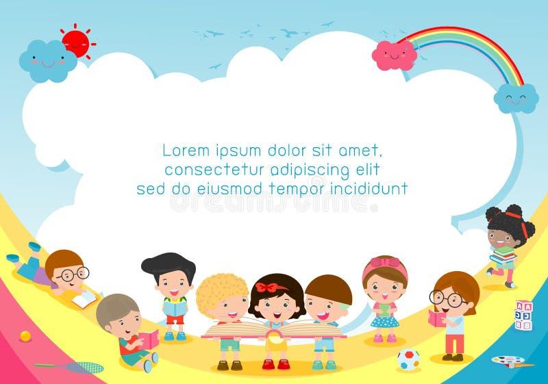 Dra tillbaka till skolan, ungeskolan, utbildningsbegreppet, barnet och böcker, mallen för advertizingbroschyren, din text, vektor vektor illustrationer