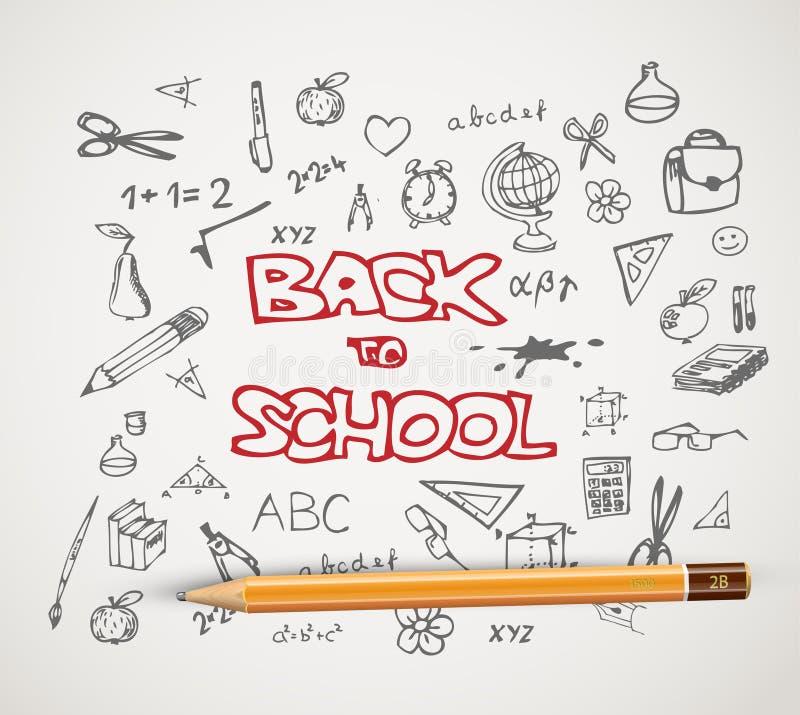 Dra tillbaka till skolan - uppsättning av skolaklotterillustrationer stock illustrationer