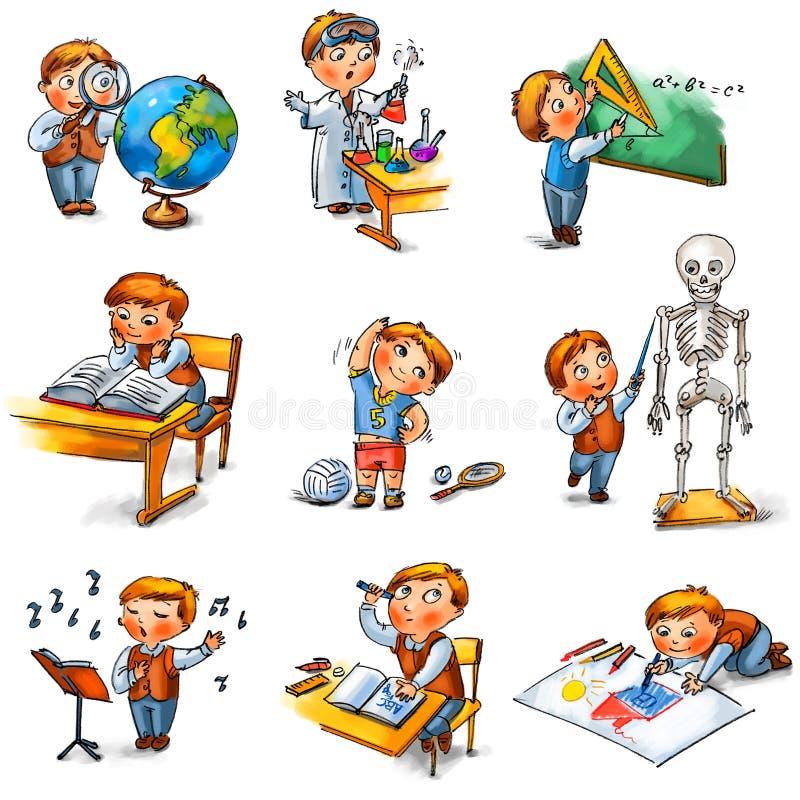 Dra tillbaka till skolar royaltyfri illustrationer