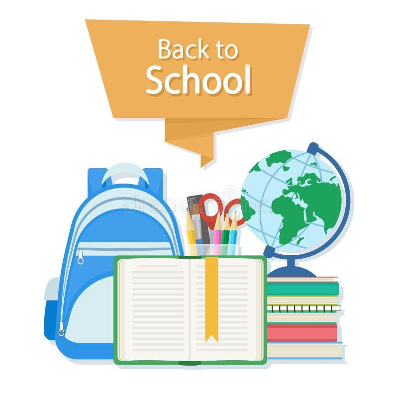 Dra tillbaka till skolatext på det orange banret Öppna boken med en bokmärke och skolatillförsel liksom en ryggsäck, läroböcker,  vektor illustrationer