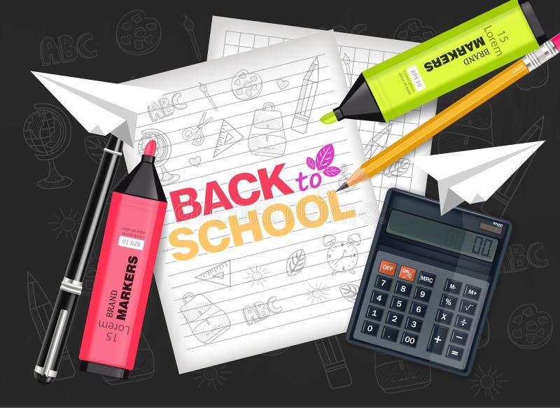 Dra tillbaka till skolatillförsel den realistiska vektorn Räknemaskin, anmärkningsbok, markörer och blyertspenna Detaljerade illu vektor illustrationer