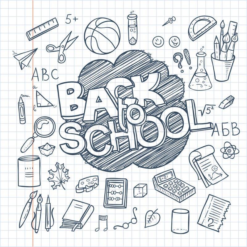 Dra tillbaka till skolatillförsel samlingen Knapphändig anteckningsbokklotteruppsättning med bokstäver stock illustrationer