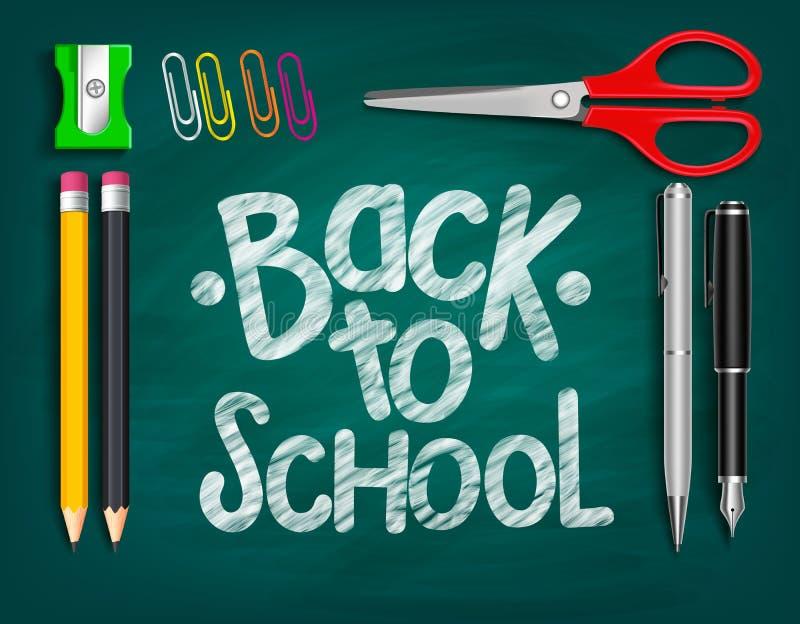 Dra tillbaka till skolatitelord som är skriftliga med realistiska skolaobjekt royaltyfri illustrationer
