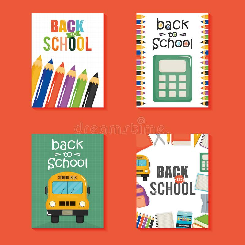 Dra tillbaka till skolaupps?ttningsymboler stock illustrationer