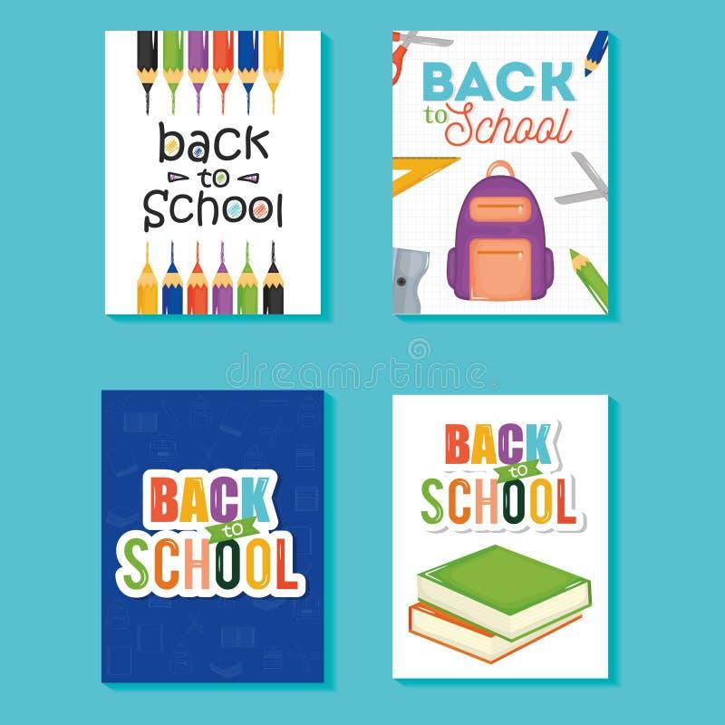 Dra tillbaka till skolaupps?ttningsymboler vektor illustrationer