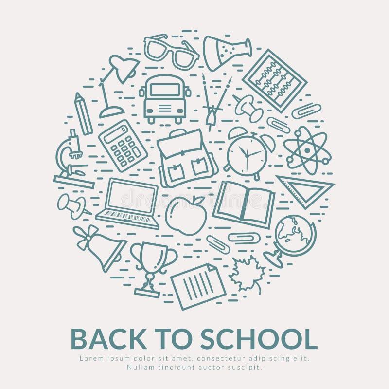 Dra tillbaka till skolavektorbakgrund stock illustrationer