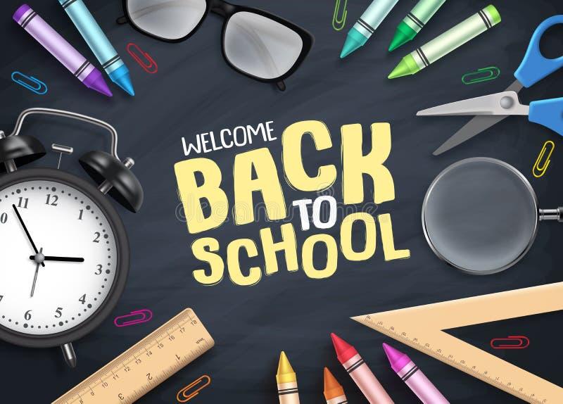 Dra tillbaka till skolavektorbakgrund Färgrika skolatillförsel och bildande objekt stock illustrationer