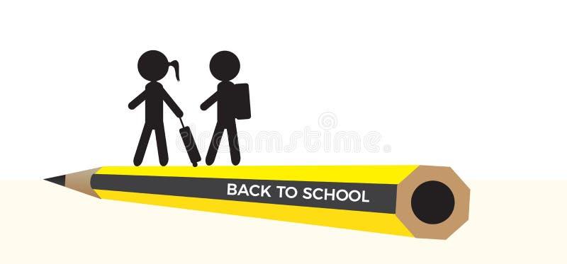Dra tillbaka till skolavektorbanret royaltyfri illustrationer