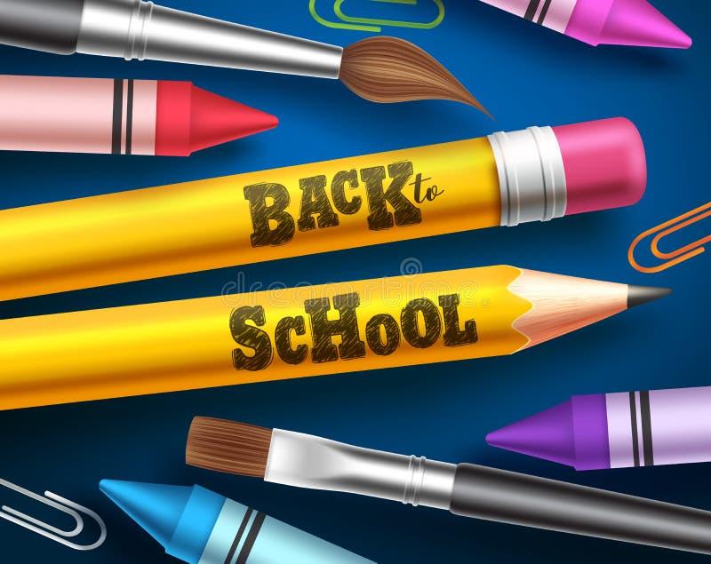 Dra tillbaka till skolavektordesignen Blyertspennor med baksida till skolatext och färgrika skolatillförsel och beståndsdelar royaltyfri illustrationer