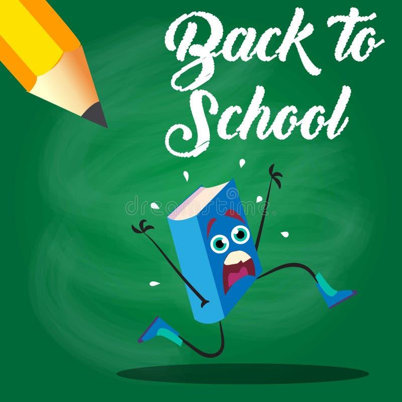 Dra tillbaka till skolbokflykten från blyertspennan också vektor för coreldrawillustration 10 eps Sale affisch stock illustrationer