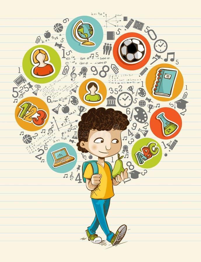 Dra tillbaka till skolutbildningsymboler färgrika tecknade filmen bo royaltyfri illustrationer