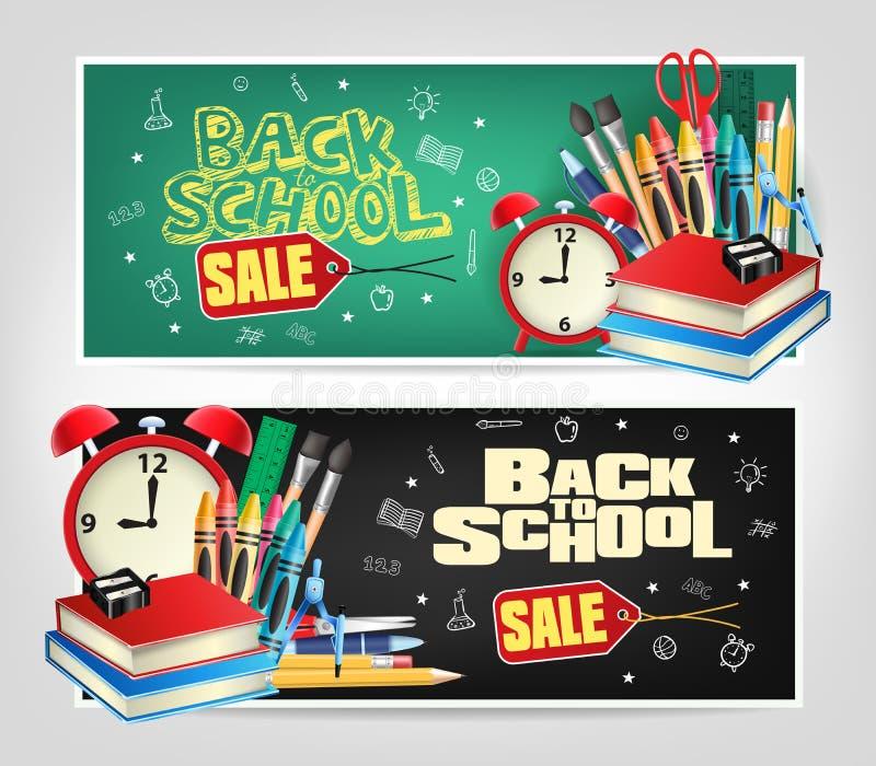 Dra tillbaka till stansade baner för skolan Sale med färgrika skolabeståndsdelar vektor illustrationer