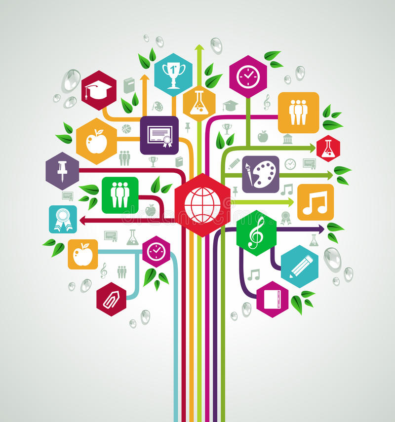 Dra tillbaka till trädet för nätverket för utbildning för skolalägenhetsymboler. royaltyfri illustrationer