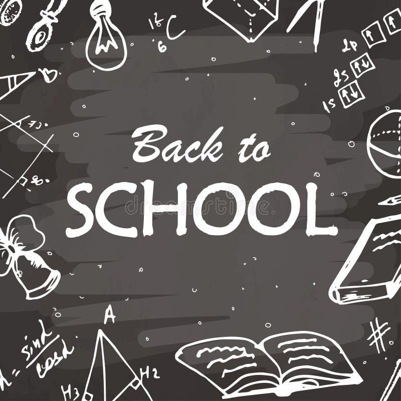 Dra tillbaka till typografisk bakgrund för skolan Frihandsteckningssymbolsbeståndsdelar på den svart tavlan Skissa vektorillustra royaltyfri illustrationer