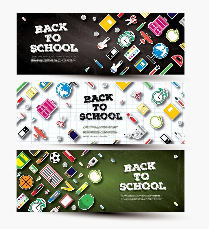 Dra tillbaka till uppsättningen för skolabanret med skolatillförsel stock illustrationer