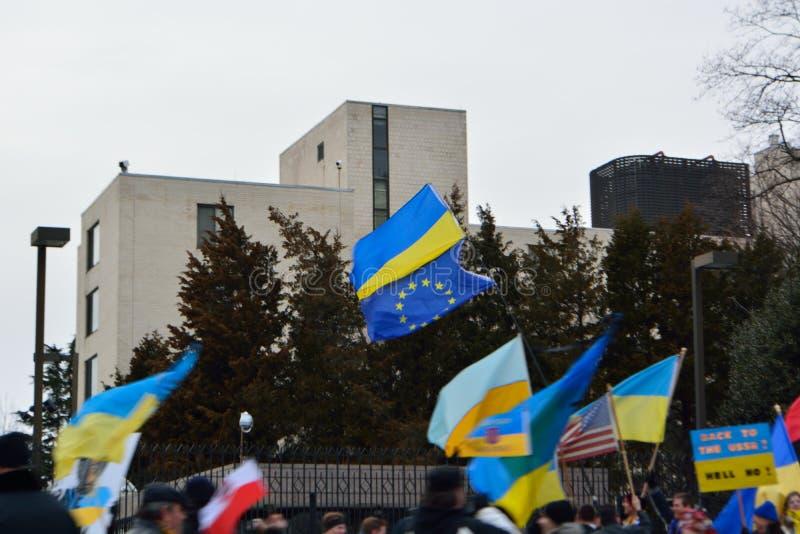 Dra tillbaka till USSR; Ukraina protest på rysk ambassad 3/4/14 royaltyfria foton