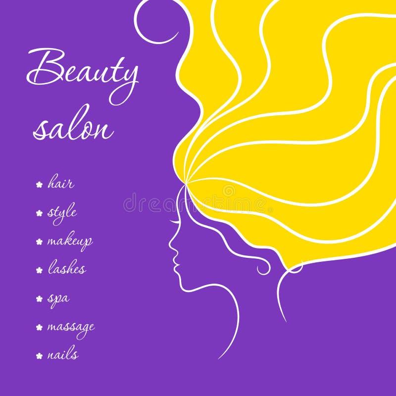 Dra upp konturerna av skönhetkortet i violet och gulna färger med kvinnan och hennes frisyr vektor illustrationer