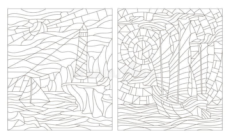 Dra upp konturerna av uppsättningen av illustrationer av målat glass av seascapes, mörk översikt på en vit bakgrund vektor illustrationer
