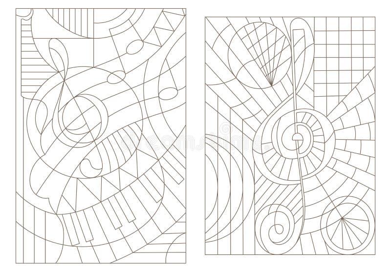 Dra upp konturerna av uppsättningen av illustrationer på temat av musik med G-klav vektor illustrationer