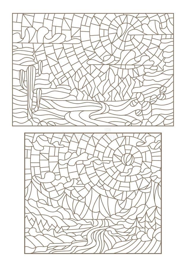 Dra upp konturerna av uppsättningen med illustrationer i stil av ett målat glassfönster med landskap, öknen med kakturs och flode stock illustrationer