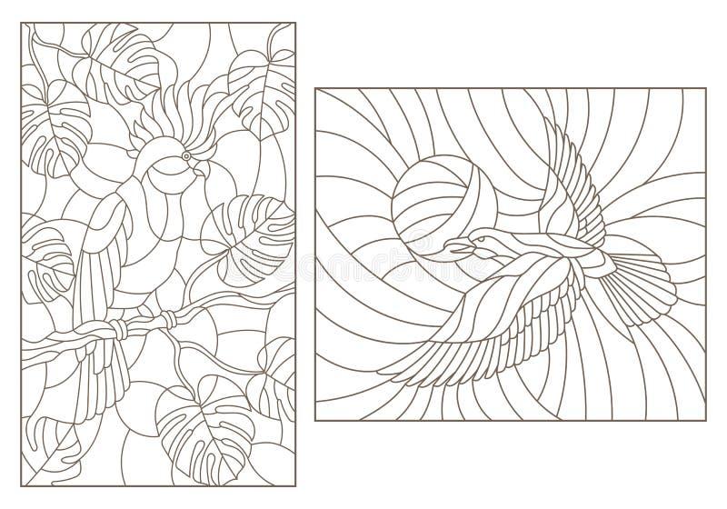 Dra upp konturerna av uppsättningen med illustrationer av målat glass med fåglar, en papegoja på filialerna av växter och galande royaltyfri illustrationer