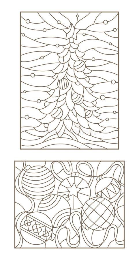 Dra upp konturerna av uppsättningen med illustrationer av målat glass Windows på temat av det nya året och julstilleben med julde vektor illustrationer