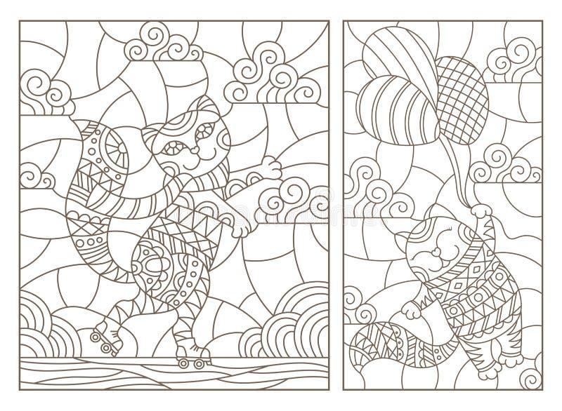 Dra upp konturerna av uppsättningen med illustrationer av målat glass Windows med roliga katter för tecknad film, ett kattflyg på vektor illustrationer
