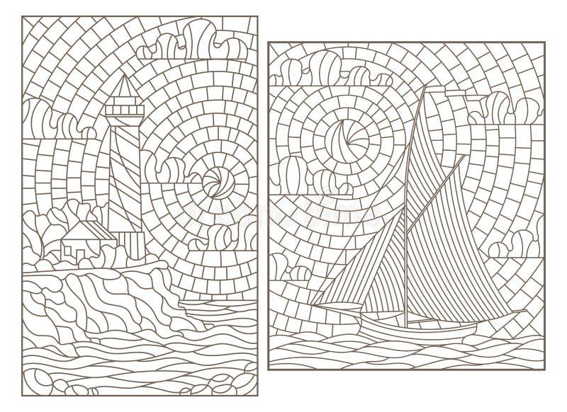 Dra upp konturerna av uppsättningen med illustrationer av målat glass Windows med seascapes, segelbåten och fyren på bakgrunden a stock illustrationer