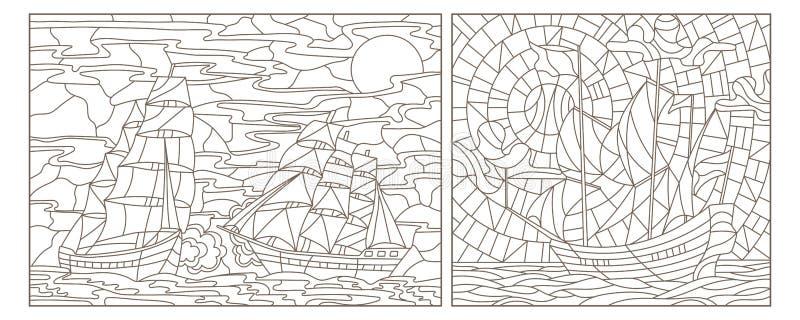 Dra upp konturerna av uppsättningen med illustrationer av målat glass Windows med seascapes, skepp mot havet och himmel, mörkerko vektor illustrationer