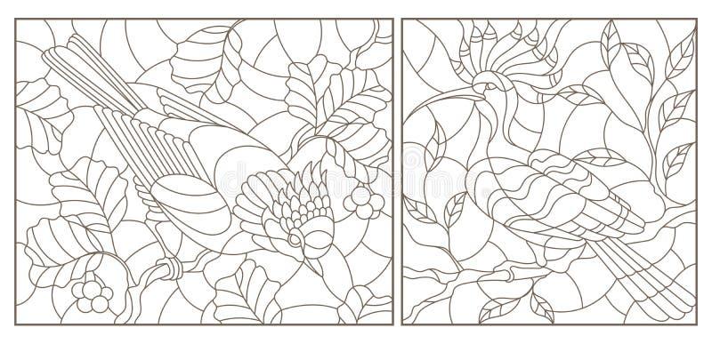 Dra upp konturerna av uppsättningen med illustrationer av målat glassfönster med fåglar mot filialer av ett träd och sidor, mörke vektor illustrationer
