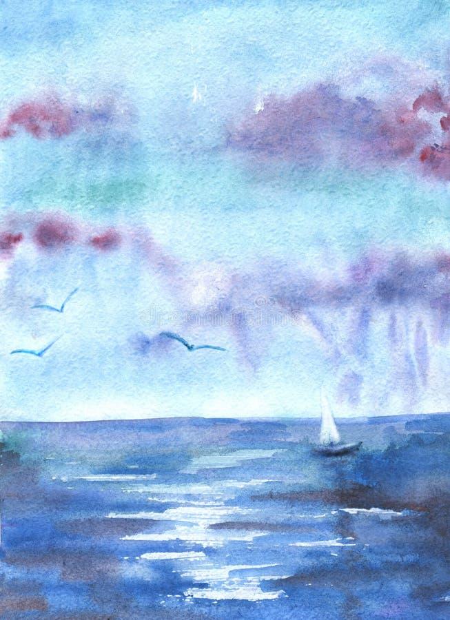 Dra vattenfärgen med bilden av havet, skepp, moln, fåglar F?r design av bakgrunder kort, tryck, r?kningar, packar, vektor illustrationer