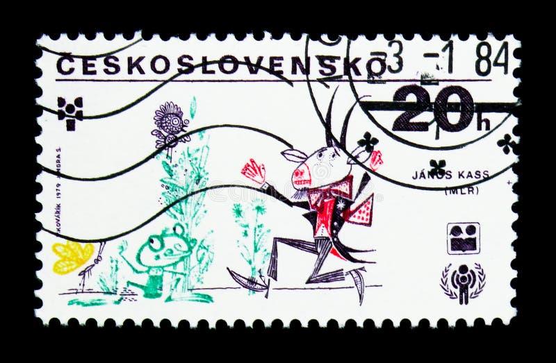 Dra vid Janos Kass, Ungern, HAKLAPPserie, circa 1979 stock illustrationer