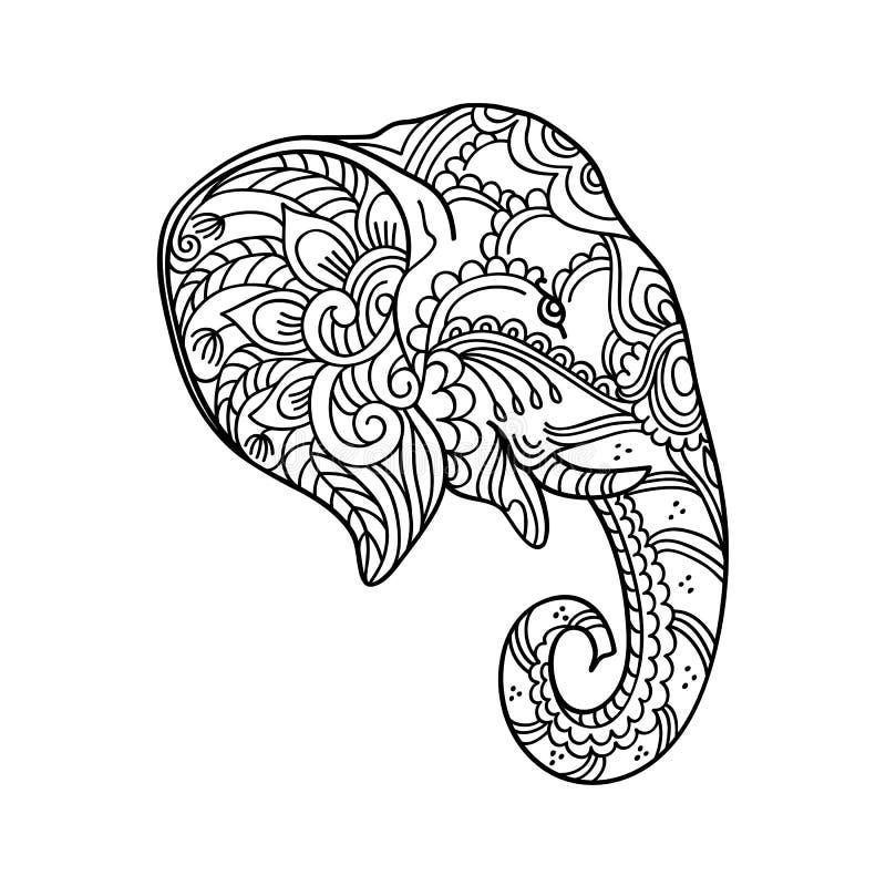 Dra zentangleelefanten, för färgläggningboken för vuxen människa eller andra garneringar vektor illustrationer