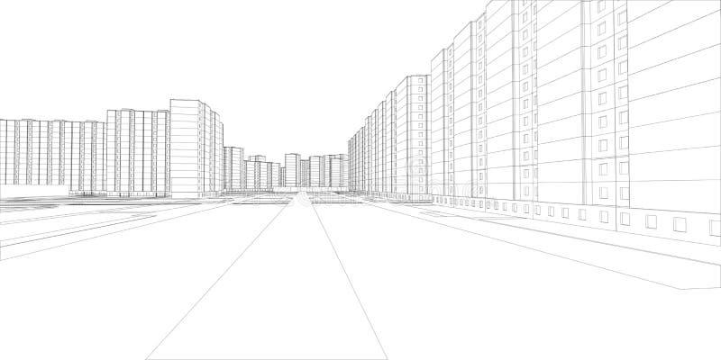 Draad-kader gebouwen en straat Vector stock illustratie